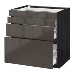 МЕТОД / МАКСИМЕРА Напольн шкаф 4 фронт панели/4 ящика - 80x60 см, Рингульт глянцевый серый, под дерево черный