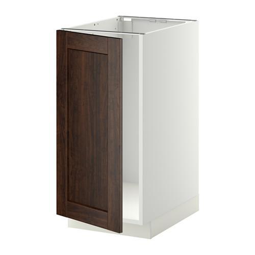 МЕТОД Наполный шкаф д/мойки/мусорн конт - Эдсерум под дерево коричневый, белый