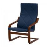 Poeng Armchair - Edum biru gelap, coklat klasik
