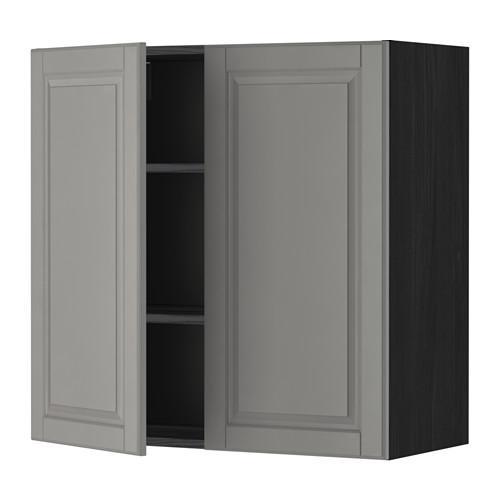 МЕТОД Навесной шкаф с полками/2дверцы - 80x80 см, Будбин серый, под дерево черный