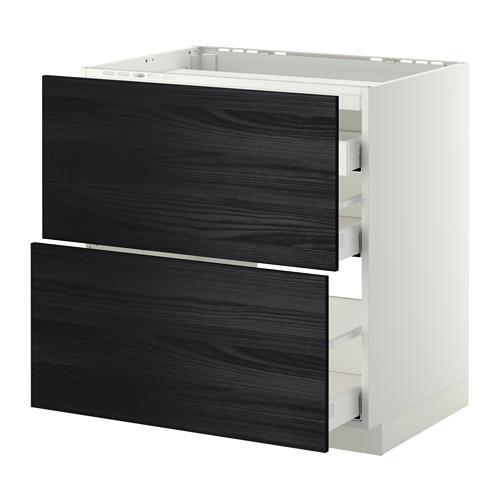 МЕТОД / МАКСИМЕРА Напольн шкаф/2 фронт пнл/3 ящика - 80x60 см, Тингсрид под дерево черный, белый