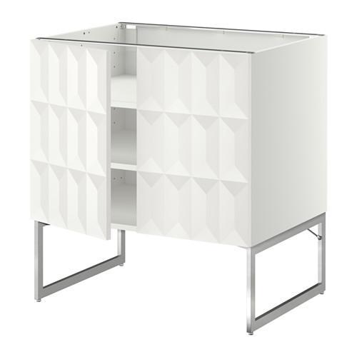 МЕТОД Напол шкаф с полками/2двери - 80x60x60 см, Гэррестад белый, белый