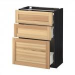 MÉTODO / FORVARA base del armario con cajones 3 - madera de color negro, Torhemn fresno natural, 60x37 cm