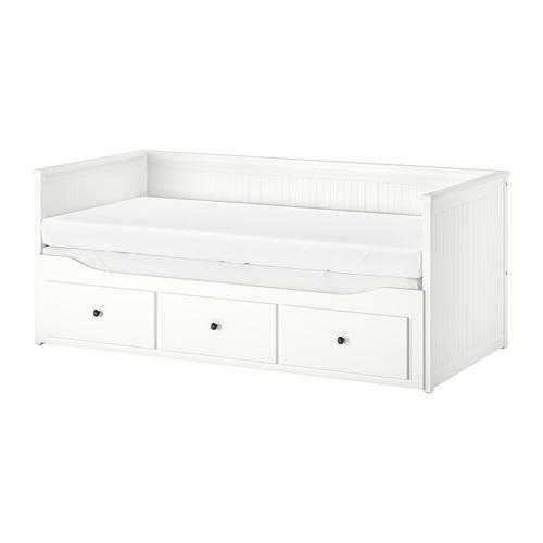 łóżko Hemnes Z Materacami 2 Szuflady 3 Szare
