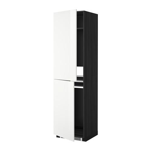 МЕТОД Высок шкаф д холодильн/мороз - 60x60x220 см, Рингульт глянцевый белый, под дерево черный