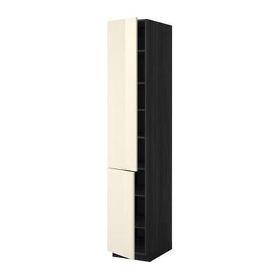 МЕТОД Высокий шкаф с полками/2 дверцы - 40x60x220 см, Рингульт глянцевый кремовый, под дерево черный