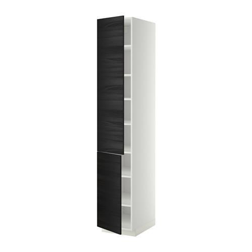 МЕТОД Высокий шкаф с полками/2 дверцы - 40x60x220 см, Тингсрид под дерево черный, белый
