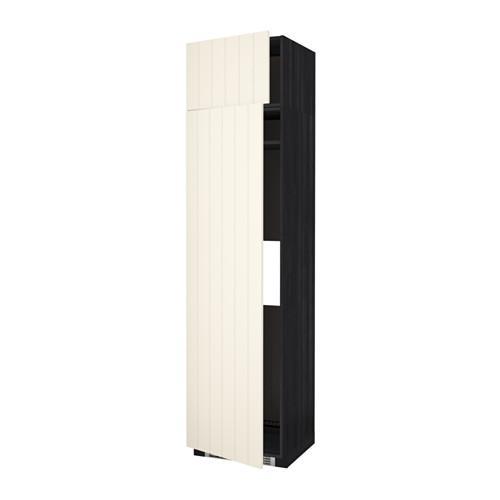 МЕТОД Выс шкаф д/холодильн или морозильн - 60x60x240 см, Хитарп белый с оттенком, под дерево черный