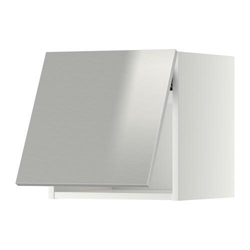 МЕТОД Горизонтальный навесной шкаф - 40x40 см, Гревста нержавеющ сталь, белый