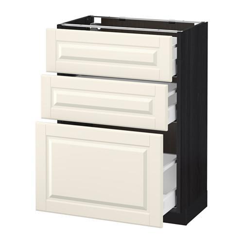 МЕТОД / МАКСИМЕРА Напольный шкаф с 3 ящиками - 60x37 см, Будбин белый с оттенком, под дерево черный