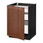МЕТОД / МАКСИМЕРА Напольный шкаф с 1двр/3ящ - 60x60 см, Филипстад коричневый, под дерево черный