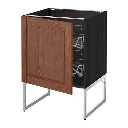 МЕТОД Напольный шкаф с проволочн ящиками - 60x60x60 см, Филипстад коричневый, под дерево черный