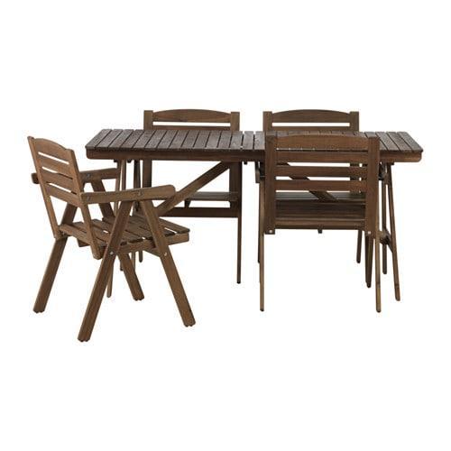 Ikea Eettafel 4 Stoelen.Falholmen Tafel 4 Fauteuils D Tuin Falkholmen Taupe