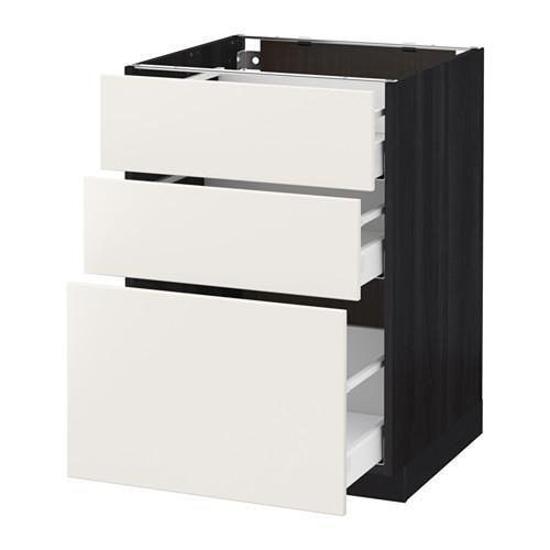 МЕТОД / МАКСИМЕРА Напольный шкаф с 3 ящиками - 60x60 см, Веддинге белый, под дерево черный