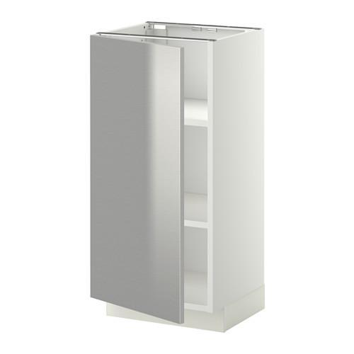 МЕТОД Напольный шкаф с полками - 40x37 см, Гревста нержавеющ сталь, белый