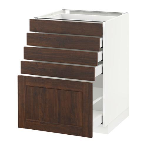 МЕТОД / МАКСИМЕРА Напольный шкаф с 5 ящиками - 60x60 см, Эдсерум под дерево коричневый, белый