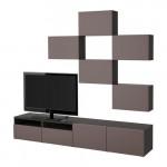 БЕСТО Шкаф для ТВ, комбинация - черно-коричневый/Вальвикен темно-коричневый, направляющие ящика, плавно закр