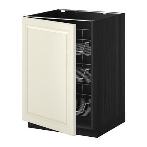МЕТОД Напольный шкаф с проволочн ящиками - 60x60 см, Будбин белый с оттенком, под дерево черный