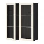 МЕТОД Навесной шкаф с полками/2 стекл дв - 80x100 см, Хитарп белый с оттенком, под дерево черный