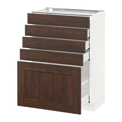 МЕТОД / МАКСИМЕРА Напольный шкаф с 5 ящиками - 60x37 см, Эдсерум под дерево коричневый, белый