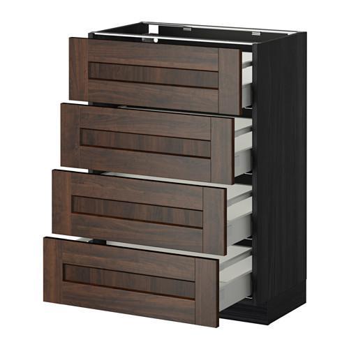 МЕТОД / МАКСИМЕРА Напольн шкаф 4 фронт панели/4 ящика - 60x37 см, Эдсерум под дерево коричневый, под дерево черный