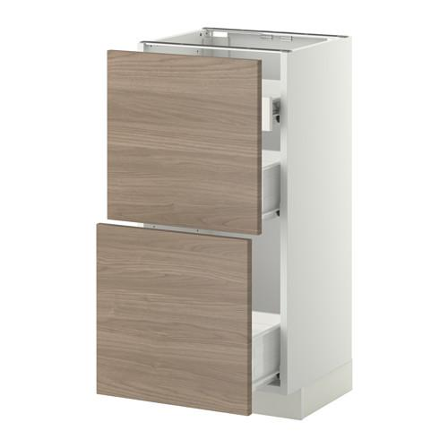 METHOD / FORVARA Nap cabinet 2 FRNT PNL / 1nizk / 2sr drawers - white, Brokhult walnut effect light gray, 40x37 cm