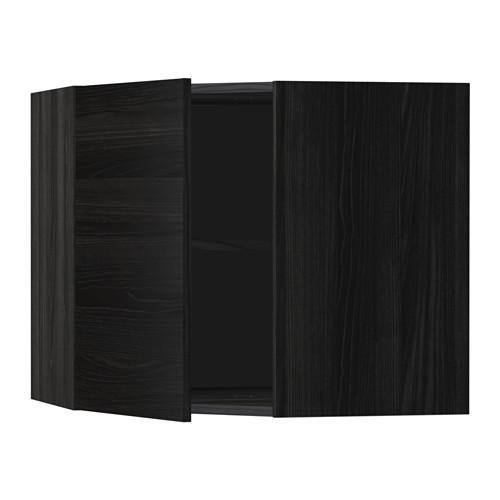 МЕТОД Угловой навесной шкаф с полками - 68x60 см, Тингсрид под дерево черный, под дерево черный
