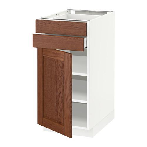 МЕТОД / МАКСИМЕРА Напольный шкаф с дверцей/2 ящиками - 40x60 см, Филипстад коричневый, белый