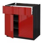 МЕТОД / МАКСИМЕРА Напольный шкаф+ящик/2дверцы - 80x60 см, Рингульт глянцевый красный, под дерево черный