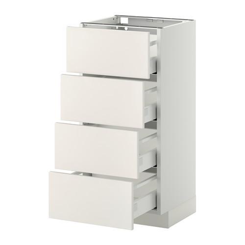 МЕТОД / МАКСИМЕРА Напольн шкаф 4 фронт панели/4 ящика - белый, Веддинге белый, 40x37 см