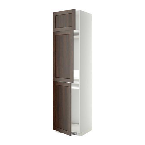 МЕТОД Выс шкаф для хол/мороз с 3 дверями - Эдсерум под дерево коричневый, белый