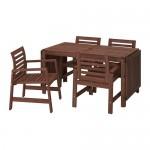 ÄPPLARÖ стол+4 кресла, д/сада коричневая морилка