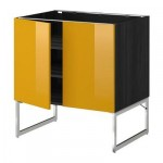 МЕТОД Напол шкаф с полками/2двери - 80x60x60 см, Ерста глянцевый желтый, под дерево черный