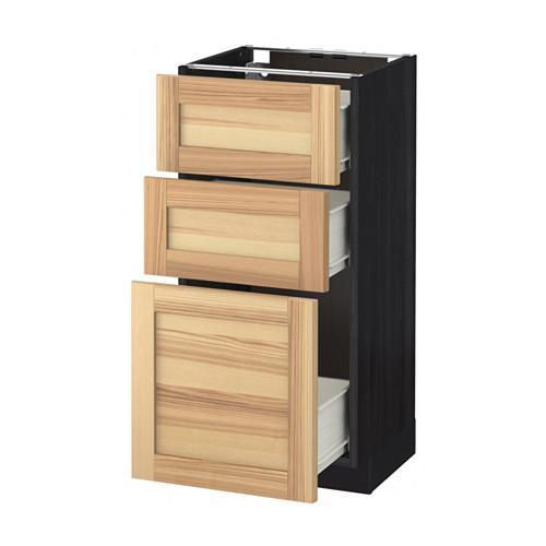 MÉTODO / FORVARA base del armario con cajones 3 - madera de color negro, Torhemn fresno natural, 40x37 cm