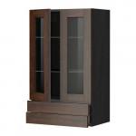 МЕТОД / МАКСИМЕРА Навесной шкаф/2 стек дв/2 ящика - 60x100 см, Эдсерум под дерево коричневый, под дерево черный