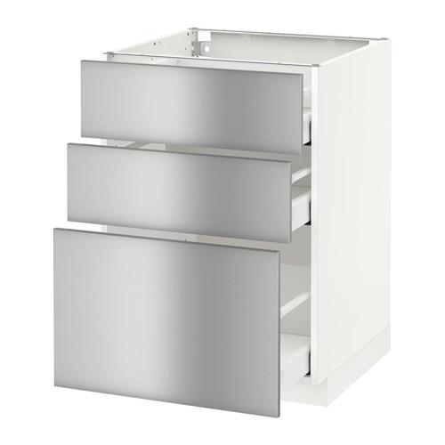 МЕТОД / МАКСИМЕРА Напольный шкаф с 3 ящиками - 60x60 см, Гревста нержавеющ сталь, белый