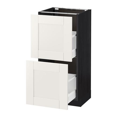 МЕТОД / МАКСИМЕРА Напольный шкаф с 2 ящиками - 40x37 см, Сэведаль белый, под дерево черный
