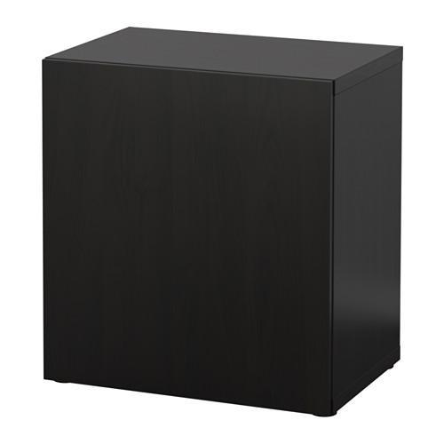 БЕСТО Стеллаж с дверью - Лаппвикен черно-коричневый