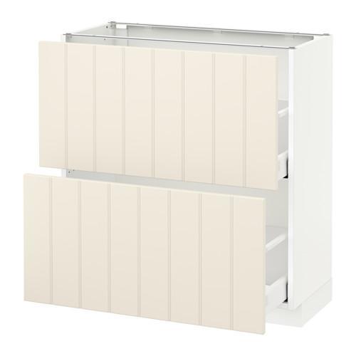 МЕТОД / МАКСИМЕРА Напольный шкаф с 2 ящиками - 80x37 см, Хитарп белый с оттенком, белый
