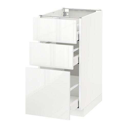 МЕТОД / МАКСИМЕРА Напольный шкаф с 3 ящиками - 40x60 см, Рингульт глянцевый белый, белый