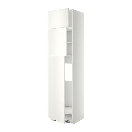 МЕТОД Высокий шкаф д/холодильника/3дверцы - Веддинге белый, белый