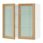 МЕТОД Навесной шкаф с полками/2 стекл дв - 80x80 см, Экестад дуб, белый