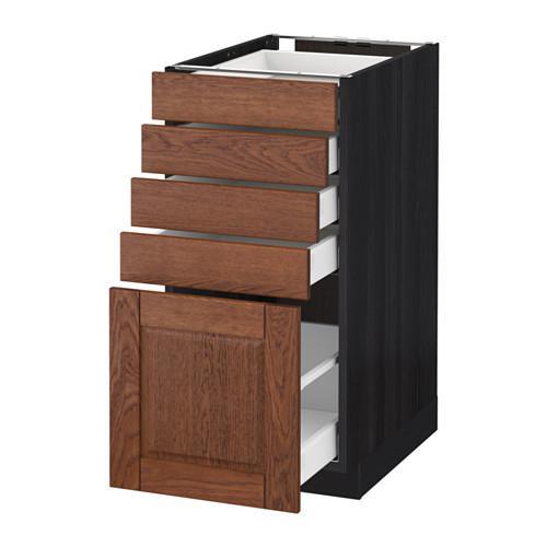 МЕТОД / МАКСИМЕРА Напольный шкаф с 5 ящиками - 40x60 см, Филипстад коричневый, под дерево черный