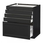 МЕТОД / МАКСИМЕРА Напольный шкаф с 5 ящиками - 80x60 см, Лаксарби черно-коричневый, под дерево черный