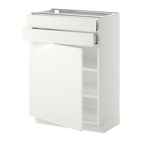МЕТОД / МАКСИМЕРА Напольный шкаф с дверцей/2 ящиками - 60x37 см, Хэггеби белый, белый