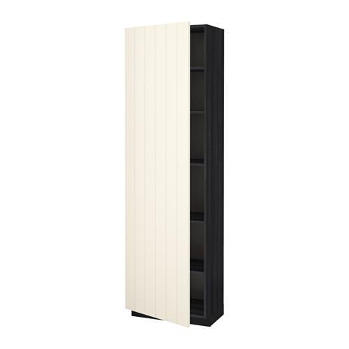 МЕТОД Высок шкаф с полками - под дерево черный, Хитарп белый с оттенком, 60x37x200 см