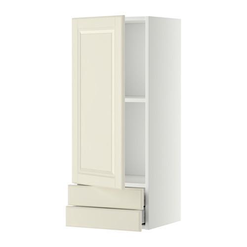МЕТОД / МАКСИМЕРА Навесной шкаф с дверцей/2 ящика - 40x100 см, Будбин белый с оттенком, белый