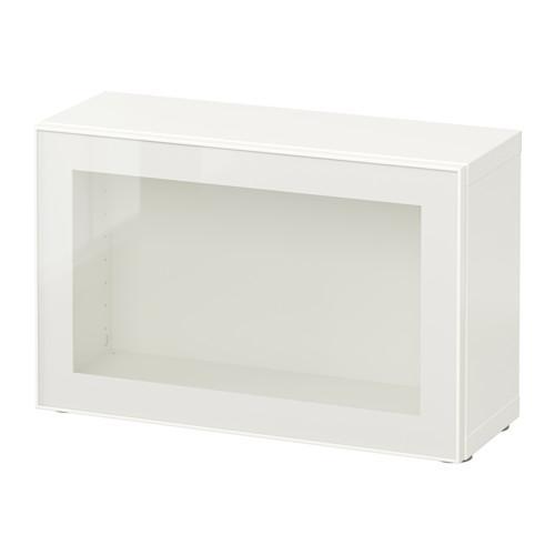 БЕСТО Стеллаж со стеклянн дверью - белый/Глассвик белый/прозрачное стекло