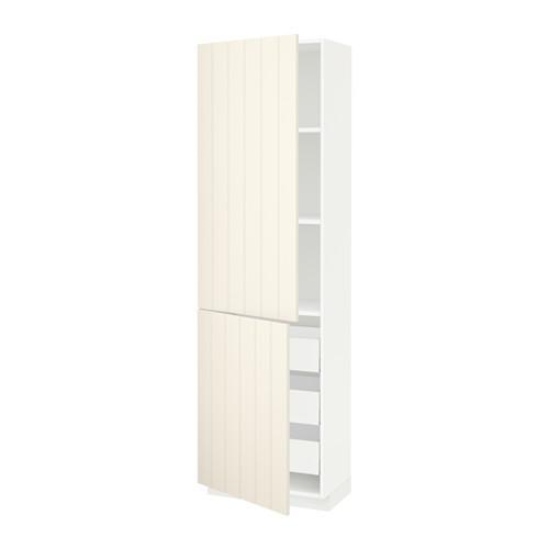 МЕТОД / МАКСИМЕРА Высокий шкаф+полки/3 ящика/2 дверцы - 60x37x200 см, Хитарп белый с оттенком, белый