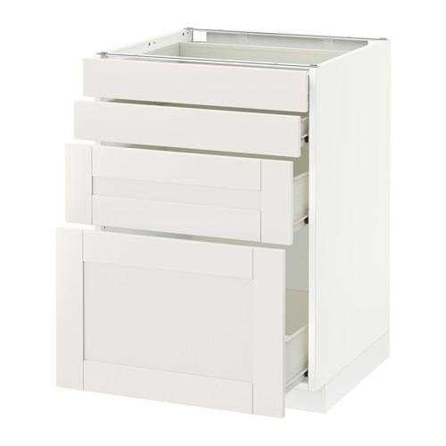 Metóda / FORVARA Spodná skrinka na čelnom paneli 4 / 4 zásuvka - biela, biela Sevedal, 60x60 cm